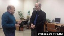 Вячаслаў Ракіцкі і Алег Трусаў у студыі Радыё Свабода