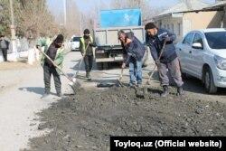 Хашар в махалле «Найман» Тайлакского района Самаркандской области.