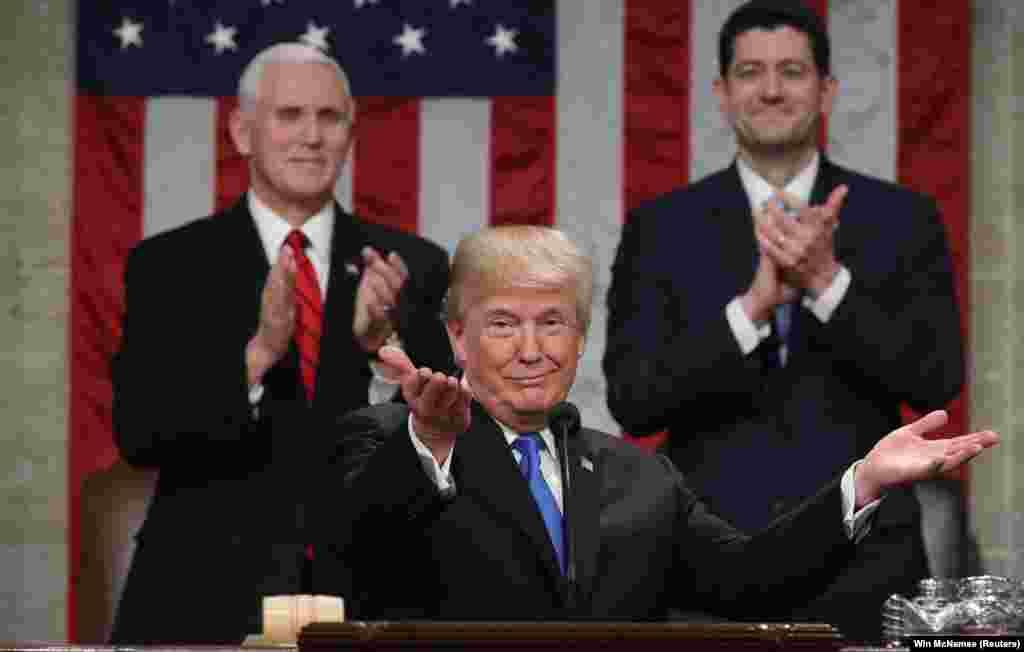 Прэзыдэнт ЗША Дональд Трамп выступае зь першым штогадовым зваротам да Кангрэсу.