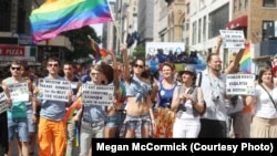 A group of about 70 Russian-speaking Americans took to the streets for New York's gay-pride parade in 2012. Now, moves are afoot to ensure that this year's parade boasts the first-ever Russian and ex-Soviet float.