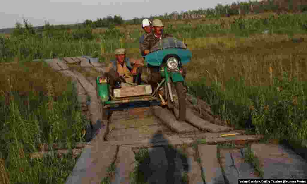 Lighter vehicles can use plank roads like this one.