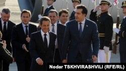 Президенты Франции и Грузии - Николя Саркози и Михаил Саакашвили, Тбилиси, 7 октября 2011