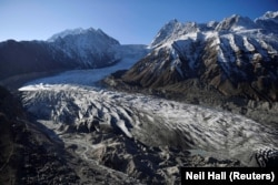 A glacier in Chitral visited by the royals. The glacier has retreated significantly in recent years due to climate change.