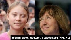 Грэта Тунбэрг (фота: Jeenah Moon, Reuters) і Сьвятлана Алексіевіч (фота: Svaboda.org), каляж