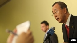 UN Secretary-General Ban Ki-Moon speaks to the media following the attacks