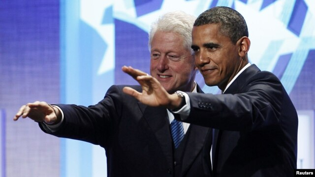 Экс-президент США Билл Клинтон и президент Барак Обама