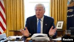 Presidenti Donald Trump gjatë intervistës me agjencinë Reuters, 23 shkurt 2017