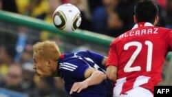هوندا در بازی مقابل پاراگوئه در جام جهانی ۲۰۱۰