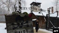 Un trandafir pe semnul de la intrarea în fostul lagăr al morţii Auschwitz-Birkenau, din Oswiecim, Polonia.