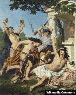 На картине Жана Батиста Филиппа Бена менады растерзывают Орфея
