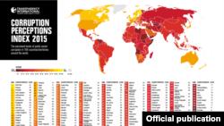 Transparency International ұйымының 2015 жылға арналған әлем елдеріндегі коррупция деңгейі индексі.