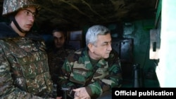 Armenia - President Serzh Sarkisian inspects an Armenian army post on the border with Azerbaijan, 31Dec2013.