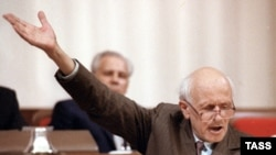 Andrei Sakharov addressing the First Congress of USSR People's Deputies in 1989