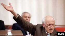 Soviet scientist and human rights campaigner Andrei Sakharov addressing the First Congress of the USSR People's Deputies after becoming a deputy in 1989.