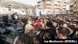 Pamje nga protesta e 21 janarit në Preshevë, kundër largimit të lapidarit të UÇPMB-së nga ky vend.