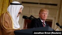 کنفرانس خبری دونالد ترامپ و امیر کویت در کاخ سفید.