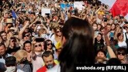Сьвятлана Ціханоўская на мітынгу ў Берасьці 2 жніўня
