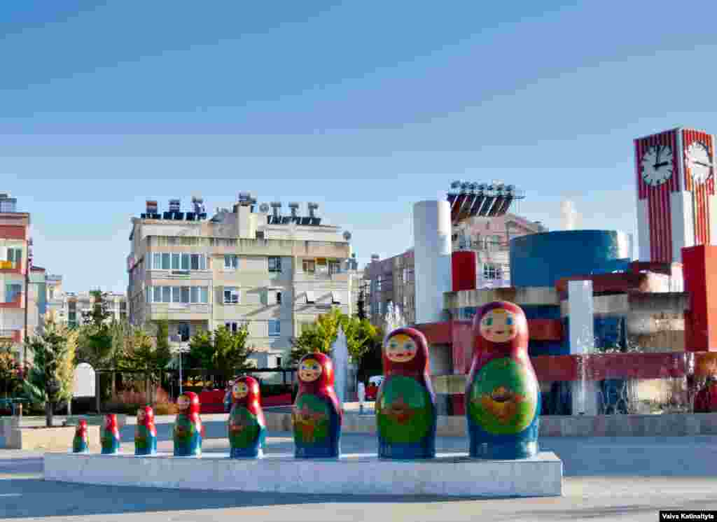 The Matryoshka Park, with its oversized Russian nesting dolls and the white, blue, and red of the Russian tricolor, is located in Antalya's Konyaalti district.