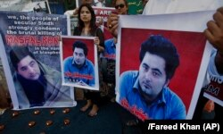 Pakistani civil activists demonstrate against the killing of university student Mashal Khan, who was shot and beaten to death in the northwestern city of Mardan amid accusations of blasphemy. (file photo)
