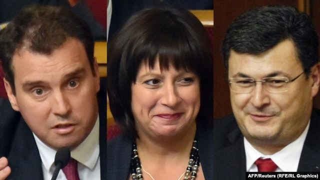Ukraine's new minister who are not native to the country (left to right): Economy Minister Aivaras Abromavicius (Lithuania), Finance Minister Natalia Jaresko (United States) and Aleksandr Kvitashvili (Georgia)