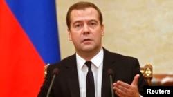 Ռուսաստանի վարչապետ Դմիտրի Մեդվեդևը կառավարության նիստի ժամանակ, Մոսկվա, 7-ը օգոստոսի, 2014թ․