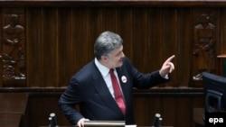 Президент Украины Петр Порошенко выступает с речью в парламенте Польши, Варшава, 17 декабря 2014 года.