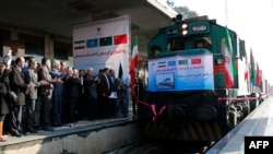 A Chinese train, part of the Silk Road project, arrives in Tehran last year