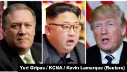 CIA Director Mike Pompeo (left), North Korean leader Kim Jong Un (center), and U.S. President Donald Trump (combo photo)