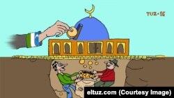 Масжидларда коррупция танқид қилинган карикатура