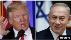 "Israeli Prime Minister Benjamin Netanyahu (right) said on January 22 that he had had a ""very warm"" with U.S. President Donald Trump (composite photo)"