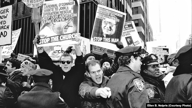 Protesters gather outside St. Patrick's Cathedral in New York on December 10, 1989.