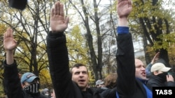 Nationalist activists shout during their rally in central Moscow.