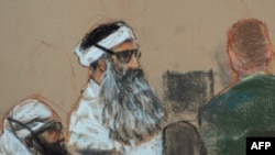 A courtoom drawing shows Khalid Sheikh Muhammad and co-defendant Walid Bin Attash at a pretrial session in Guantanamo Bay.