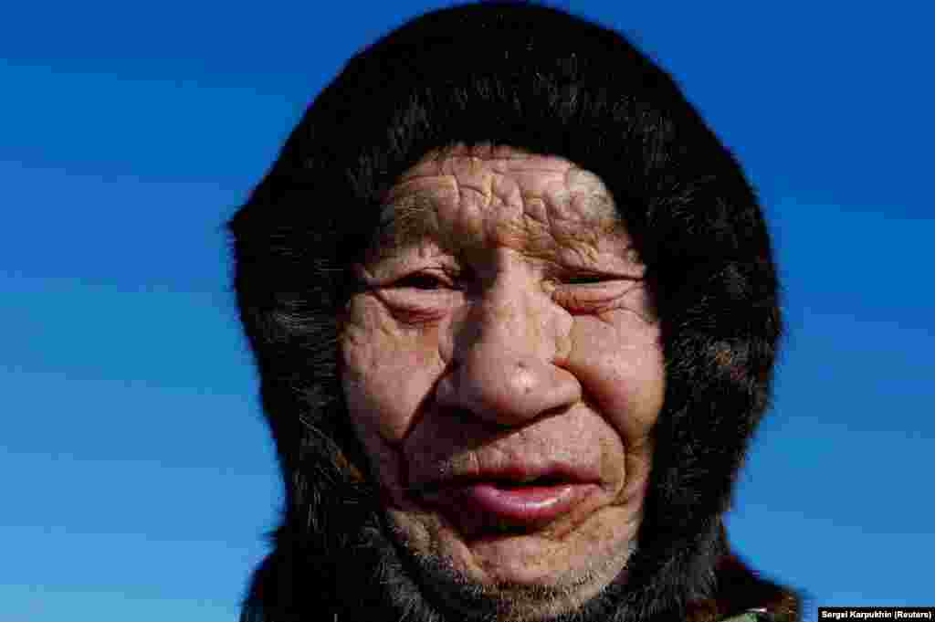 The weather-beaten face of a nomad herder.