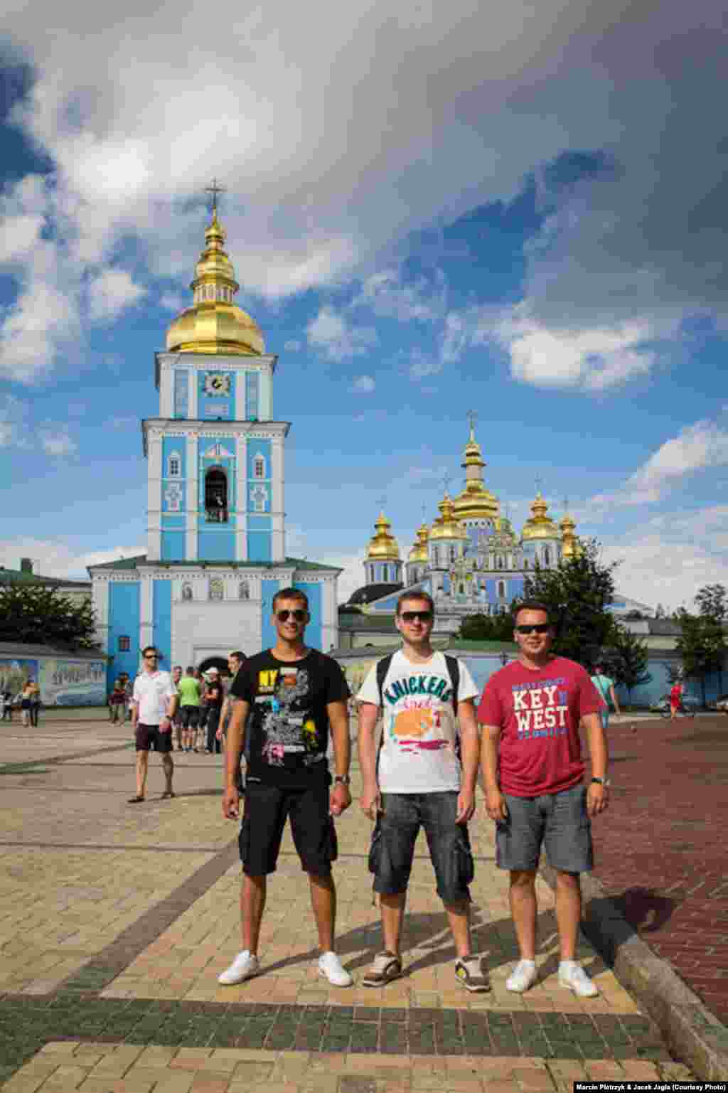 Piotrek (left), Jacek, and an unidentified friend at Pechersk Lavra in Kyiv.