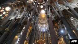 The columns and arches of the Sagrada Familia are seen during a Mass celebrated by the pope in Barcelona today.