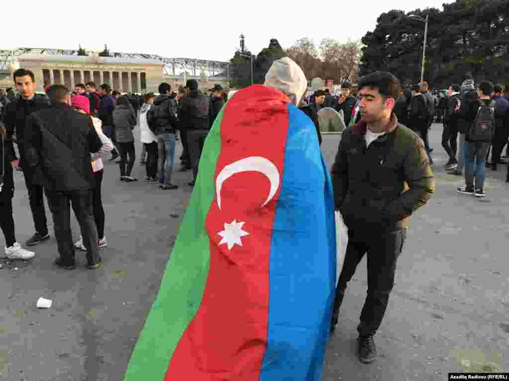 Azerbaijan -- local football fans before Azerbaijan-Germany tournament