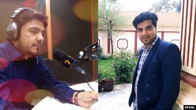 RFE/RL journalists Sabawoon Kakar (left) and Abadullah Hananzai
