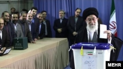 Iran's Supreme Leader Ayatollah Ali Khamenei casts his ballot in Tehran in the parliamentary elections on March 2.