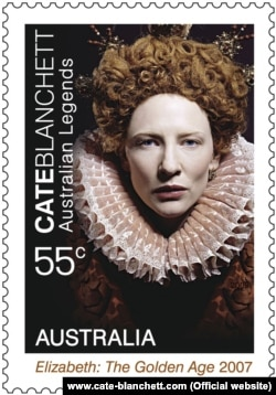 """Cate Blanchettin """"Elisabeth"""" filmində yaratdığı obrazın şəkli poçt markasının üzərində."""
