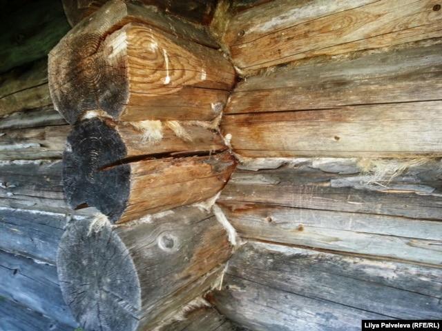 Стена старинной бани в деревне Шидьеро Кирилловского района. Бревна подогнаны, швы законопачены. Не продует и не промокнет