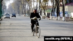 A man returning from a bazaar in the Ferghana city in eastern Uzbekistan.