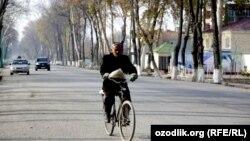 Велосипедист на одной из улиц Ферганы. 15 ноября 2012 года. Иллюстративное фото.