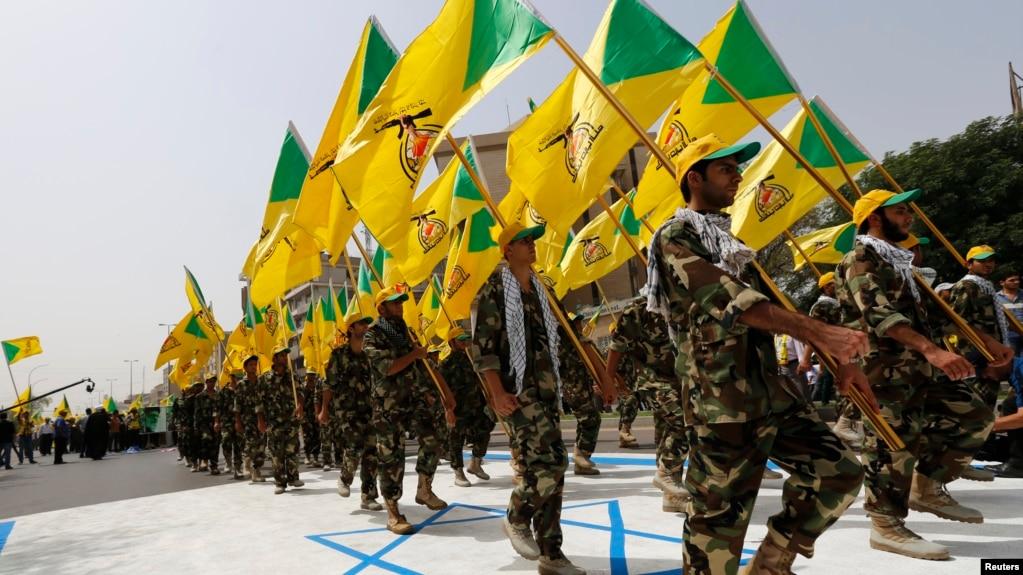 آمریکا گروه «کتائب حزبالله» را در زمره گروههای تروریستی میداند؛ تصویر نیروهای این گروه در راهپیمایی «روز قدس»