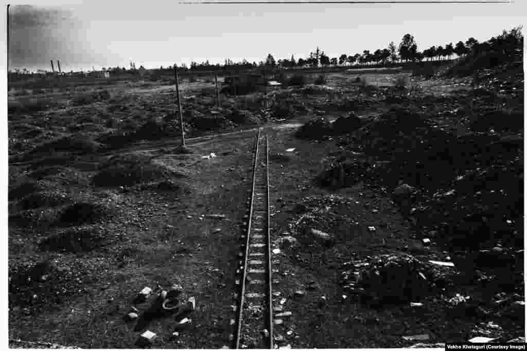An out-of-service railroad line in Rustavi