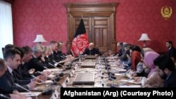Afghan President Ashraf Ghani, center, meeting with the ambassadors of EU countries ambassadors in Kabul, on March 4