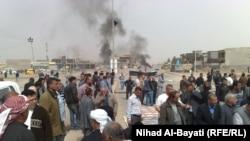 جانب من تظاهرة أهالي منطقة (90) بكركوك