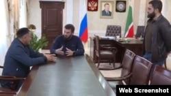 Абу-Бакар Гелисханов, спикер парламента Чечни Магомед Даудов и Магомед-Басир Гелисханов, скриншот с Instagram