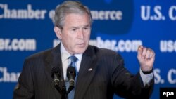 В пятничной речи Буша можно было услышать как оптимистические, так и пессимистические нотки