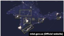 Уровень освещенности Крыма в 2012 году
